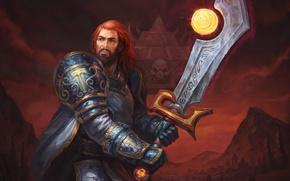 Wallpaper armor, sword, magic, warrior, fiction, red, hair