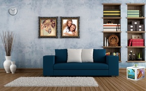 Picture sofa, Room, pictures, wardrobe, vases, built-in