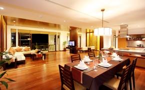 Wallpaper table, room, sofa, Wallpaper, interior, TV, window, kitchen, chandelier, balcony, apartment, wallpapers