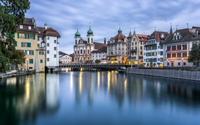 Wallpaper bridge, river, building, home, Switzerland, Church, promenade, Switzerland, Lucerne, Lucerne, Reuss River, the river Reuss