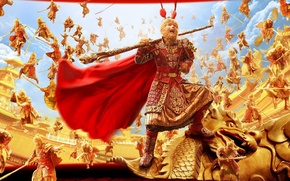 Picture China, cinema, gun, golden, gold, armor, sky, clouds, army, movie, bat, dragon, legend, clones, hero, ...
