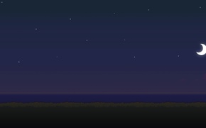 Picture sea, the moon, night, day, time, 8bit, stars