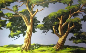 Picture summer, trees, picture, art, painting, harmony, painting, nature.