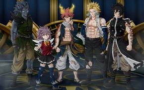 Picture anime, art, fairy tail, Natsu Dragneel, Gajeel Redfox, Wendy Marvell, Rogue Cheney, Sting Eucliffe