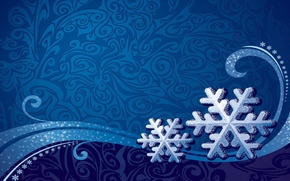 Picture winter, snowflakes, blue, background, patterns