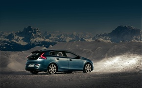 Picture The sky, Mountains, Volvo, Snow, Twilight, Cars, V40