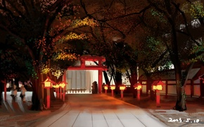 Picture road, trees, gate, Japan, lights, temple, art, Shuizhanglang