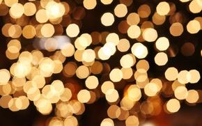 Picture macro, light, lights, yellow, holidays, bokeh