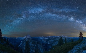 Picture mountains, stars, CA, Yosemite, The Milky Way, California, Yosemite national Park, Milky Way, Yosemite National …