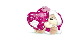 Wallpaper winter, snow, gift, heart, art, bear, New year, children's, a celebration
