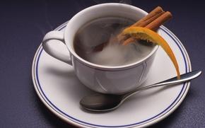 Picture coffee, orange, Cup, cinnamon