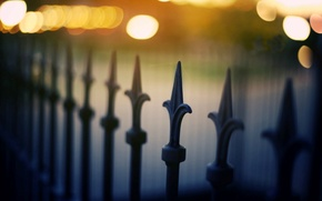 Picture macro, the city, lights, background, widescreen, Wallpaper, the fence, blur, fence, the fence, wallpaper, widescreen, …