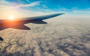 Picture the sky, the sun, clouds, flight, the plane, morning, wing, blur, bright, sky, aircraft, flight, ...