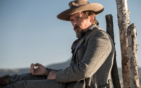 Wallpaper The magnificent seven, Ethan Hawke, Ethan Hawke, The Magnificent Seven, the sun, Western, cowboy, coat, ...