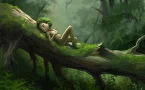 Picture forest, grass, tree, stay, moss, art, man