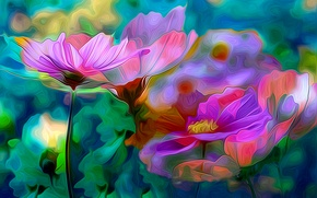 Picture flowers, nature, rendering, petals, garden