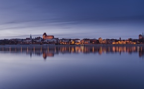 Picture city, the city, lights, lights, reflection, river, river, reflection, Church, churches