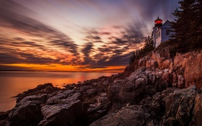 Picture Sunset, lighthouse, Acadia National Park