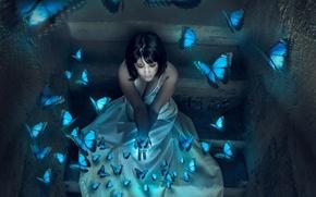 Wallpaper girl, butterfly, background