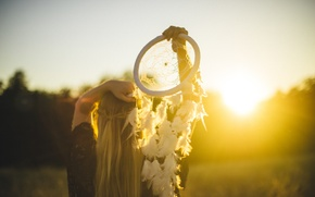 Picture girl, sunset, Dreamcatcher