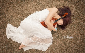 Picture girl, pose, music, violin