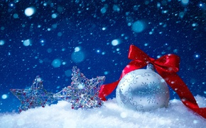 Picture winter, stars, snow, new year, ball, ribbon, Christmas decorations