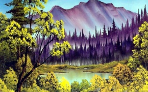 Picture forest, the sky, water, trees, landscape, mountains, lake, picture, painting, peak, Bob Ross, Bob Ross