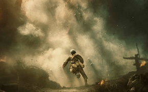 Picture fire, the film, smoke, soldiers, runs, poster, battlefield, drama, military, Andrew Garfield, Andrew Garfield, The …