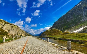 Picture road, the sky, clouds, mountains, river, pavers