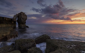 Picture sea, the sky, clouds, sunset, stones, rocks, UK, Pulpit rock