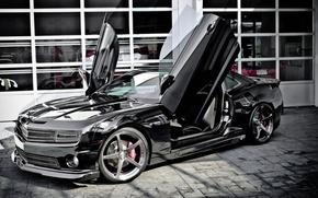 Wallpaper Chevrolet, black, Camaro, Lambo doors