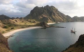 Picture sea, beach, mountains, sailboat, Bay, Komodo islands, Silolona, Indonesia