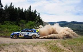 Picture Auto, Dust, Subaru, Forest, Sport, Machine, Turn, Race, Skid, Day, Hills, Subaru, Rally