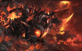 Picture flame, lava, rider, dota 2, workshop, Chaos Knight, Burning Nightmare, hot steel