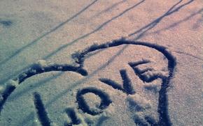 Wallpaper snow, heart, Love