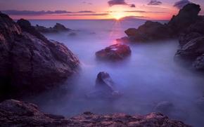 Picture sea, sunset, fog, stones, twilight