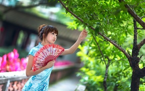 Picture summer, girl, face, style, tree, dress, fan