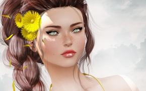 Picture girl, flowers, hair, portrait, braid