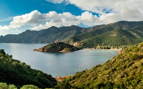 Picture sea, clouds, mountains, coast, France, Bay, Corsica
