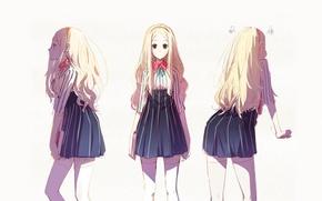 Picture girl, Cici, book, art, strip, back, bow, long hair, manga, dress