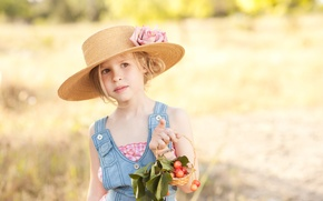 Picture flower, nature, berries, blonde, girl, hat, brown-eyed
