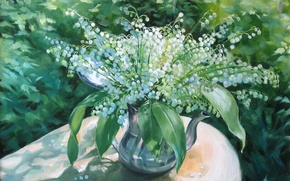 Picture flowers, bouquet, picture, vase, Lily of the valley