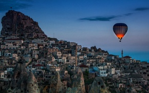 Picture city, rock, sky, landscape, sunset, night, evening, buildings, balloon, Houses, minarets, hot-air balloon, headland