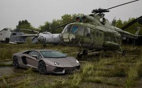 Picture Lamborghini, Lamborghini, Helicopter, Supercar, Grey, LP700-4, Aventador, Aventador