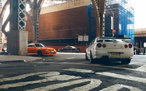 Picture Nissan, Orange, Nissan, GT-R, Car, Black, White, Skyline, R34, Skyline, R33, V-Spec