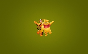 Wallpaper tigger, darkish green background, the embrace, minimalism, disney, tiger, Winnie-the-Pooh, Winnie The Pooh, on the ...