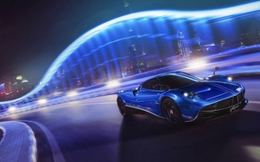 Picture Pagani, Blue, Speed, Front, Supercar, To huayr, Track, Ligth, Nigth