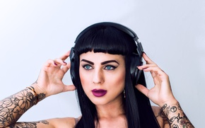 Picture girl, style, makeup, headphones, brunette, tattoo