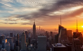 Picture sunset, the city, home, New York, USA, New York
