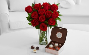 Picture white, red, box, chocolate, roses, vase